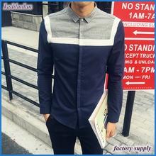 Blue and white splicing shoulder hidden button men casual shirt design