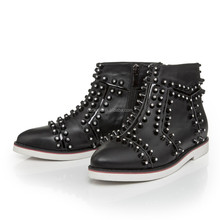 Brand Name Ladies Side Zipper Ankle Boot, Fashion Stud Diamond Leather Inside High Heel Shoes