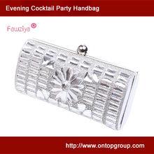 Fancy cut diamond sun flower wedding party silver clutch evening bags wholesale