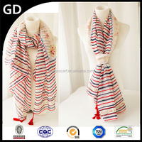 GDB0050 beautiful streak and dots print floral scarf for young girl's,soft cotton voile scarves with tassels