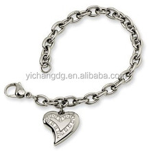 Hot Selling 361L Stainless Steel Square Bracelet Jewelry With Pendant For Women's