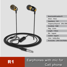 New OEM 3.5mm in ear aluminum alloy sports earphone mp3 player With Mic For Laptop PC MP3 MP4 Moblie Phone, R1