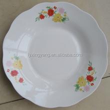 white wavy dinner plates/ceramic 7/8/9 inch 3 flower plates dishes/flower edge design soup plate