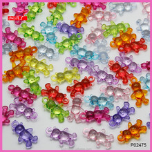 Mixed color transparent acrylic bear charms for DIY jewelry making P02475
