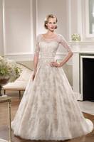 round neck elegant white long sleeve lace wedding dresses