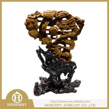 traditional Chinese dragon carving in yellow tiger eye good for collection