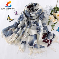 100% Wool Pashmina Cashmere Women Scarf Floral Shawl Scarves Wraps Paisley