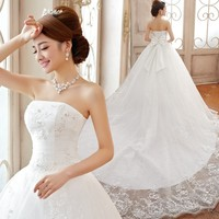 Wedding Dresses 2015 New Good Quality Luxury Princess Lace Embroidery Long Train Bow Bridal Married Wedding Dresses Plus Size J