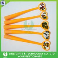 Promotional Gift Lovely Designed Light Orange Soft Plastic Rollerball Pen