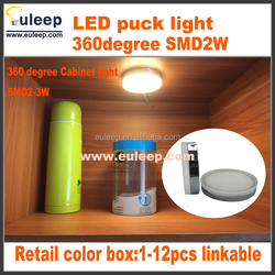 Set of 3-6pcs,2W, LED Puck Lights, LED Under Cabinet Lighting Kit with CE/SAA/UL-listed Power Adapter for Closet/Kitchen Cabinet