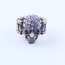 Cheap Adjustable Rhinestone Brass Finger Skull Ring Wholesale Manufacturer