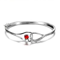 BR028 SJ Fashion Trend China Supplier Red Ruby With Several Colors Options Copper Best Gift for Lover Simple Bangle