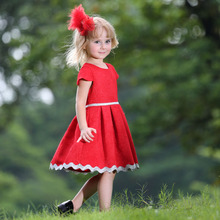New Style Red Jacquard Girls Dress Pretty Lace Princess Dress Short Sleeve Kids Clothes GD80613-7F