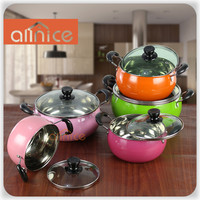 Modern kitchen cookware designs high definition color painting pearl soup pot arc-shape pot with double-riveted bakelite handles