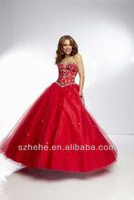 cy482 bola popular vestido de novia de tul con cuentas de color rojo vestidos de fiesta de quince años