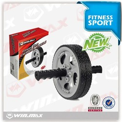 molded plastic discs,steel rod with comfortable grips/18cm Ab exercise wheel