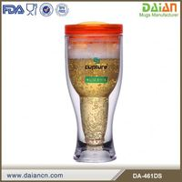 Custom personalized cheap clear acrylic / plastic double wall beer mug with lid