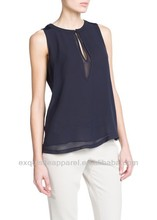Los modelos sin mangas de gasa blusa/2014 modelos blusa de gasa