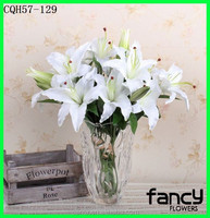 Factory price 2 heads silk lily flower for home decor artificial lily flower wholesale dried flower lily with single stem