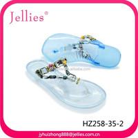 latest design rubber shoes ladies flip flop crystal pvc shoes