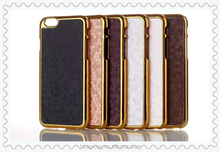 Deluxe PU Leather Case for iPhone 6 Plus 5.5 Inch Hard Golden Plastic Frame Brand New Phone Bag Cover