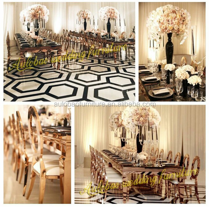 Наиболее популярный свадебный банкет из нержавеющей стали стеклянный обеденный стол