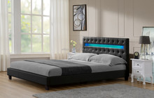 European Chesterfield Point Design King Size Upholstered Headboard LED PU Bed Frame WSB107-1