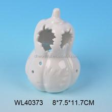 Halloween series white porcelain craft ceramic pumpkin for LED