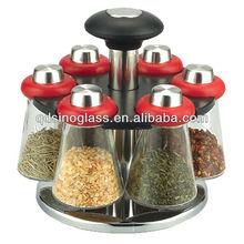 SINOGLASS 6pcs Glass Spice Jar Set With Chromed Wire Rack