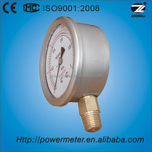 100mm glycerine or silicone oil filled pressure gauge manometer stainless steel / bottom type/ CE