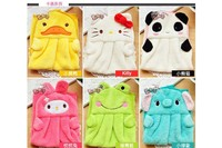 Best price Coral fleece cartoon towel Nursery Hand Towel Soft Plush Fabric Cartoon Animal Hanging Wipe Bathing Towel