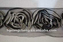 Y0043/two-tone chiffon flower SHABBY trimming for garment accessories