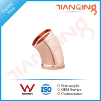 T201 Factory price large size pipe fitting copper long radius 45 deg elbow gas fitting