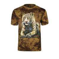 tie-dye printed cotton shirt new round neck 3d t shirt with white tiger