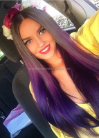 Top Beauty 20 inch thick density ombre purple Brazilian human hair full lace wig for white women