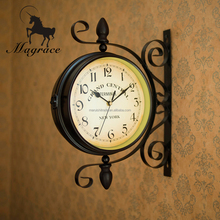 European Style black and whhite double sides antique wrough iron material 8inch dial hanging wall clock