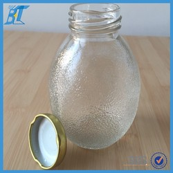customized clear empty fruit juice glass bottle with cap