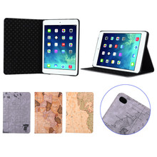 Alibaba Gold Supplier New Fashion World Map Pattern Flip Leather Case for iPad Mini 4