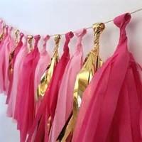 The Best Selling DIY Pink Tissue Paper Tassel Garland For Wedding Decoration