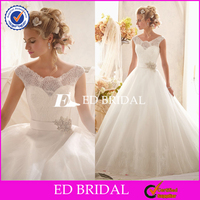 Custom Made Cap Sleeve Lace Tulle Ball Gown Cheap Wedding Dresses China