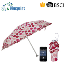 Fashion ladies gift bag size packet compact aluminium small 5 fold super mini umbrella in case