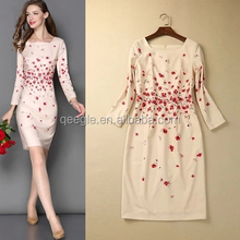 long sleeve floral printed women dresses, oem dress manufacturer China lady dress factory, latest dress designs for ladies