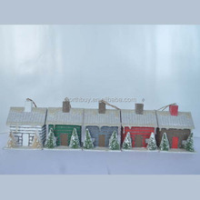 2014 Christmas decorations 4 colors paper house set with artificial and snow covered chrismas tree from Shenzhen factory
