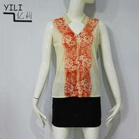 ladies fashion printed blouse front neck design