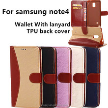 alibaba express for samsung galaxy note 4 cell phone case note4 mobile phone cases wallet lanyard flip tpu back cover