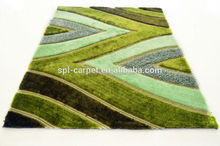 green modern design hand tufted multi-structure shaggy home decorative carpet