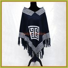 wholesale cashmere poncho,multi-color striped fringes women cashmere poncho