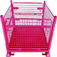 Warehouse folding storage wire mesh container steel storage cages