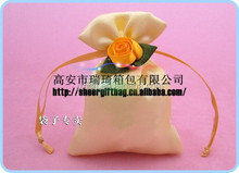 small mini cosmetic gift drawstring satin bag with sheer rose decoration