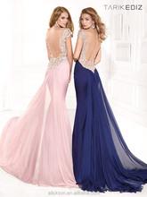 V neck Short Sleeve Brush Train Beaded Chiffon Off Shoulder Backless Trimmings For Prom Dresses